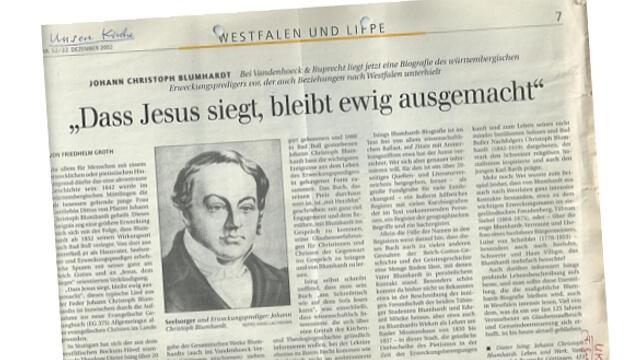 Zeitungsbericht Blumhardt von Heilung der Gottliebin Dittus